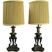 Pair of Antique Bronzed Metal and Parcel-Gilt Neoclassical Style Table Lamps
