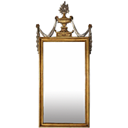 Vintage French Style Gold and Silver Carved Giltwood Pediment Mirror, circa 1950
