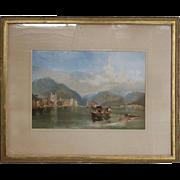 Antique Gilt Framed Italian Venetian Harbor Watercolor Painting, circa 1890