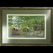 "Vintage Japanese T. Yoshida Wood Block Print ""Bamboo Garden,"" Signed, circa 1930"