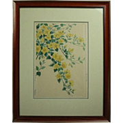 Antique Japanese Hiroshige Style Floral Watercolor Painting, Signed, circa 1920