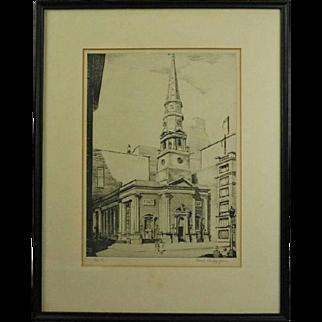 Antique Etching of New York Presbyterian Church by Pierson Underwood, 1938
