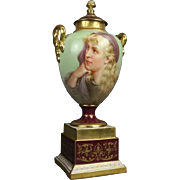 Antique Royal Vienna Porcelain Hand-Painted and Gilt Portrait Urn Sgnd Heim