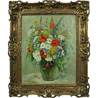Oversized French Style Oil on Canvas Floral Still Life Painting, Signed