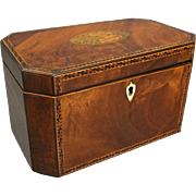 Antique English George III Mahogany Inlaid Tea Caddy, circa 1790