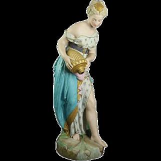"Monumental French Antique Neoclassical Chelsea Bisque ""La Source"", circa 1880"