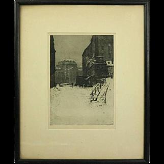 "German Etching ""FEBRUAR"" of Winter City Street, Artist Signed, circa 1890"