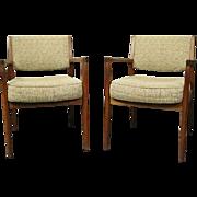 Pair of Mid-Century Danish Modern Upholstered Teak Armchairs, Roffman Associates, c1960