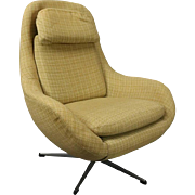 Vintage Mid-Century Modern Knoll Style Upholstered Swivel Club Chair, circa 1960