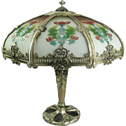 Antique Reverse Panel Lamp with Filigree Shade & Polychrome Base, circa 1920