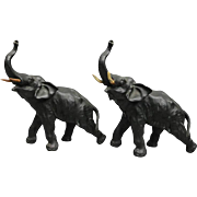 Pair Antique Bronzed Asian Bull Elephants in Motion, circa 1900