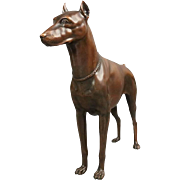 Antique Bronzed Cast Sculpture of Canine, Alert Doberman Pinscher, circa 1900