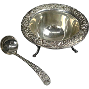 Antique S. Kirk & Sons Sterling Silver Repousse Footed Sauce Bowl and Ladle