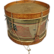 Americana Folk Art Patriotic Tin Drum, Stars and Stripes, circa 1900