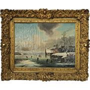 Antique Oil on Canvas Painting by Van Zeebroeck, Ice Skater Scene, Signed, 1849