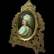 Antique KPM Style Berlin Porcelain Portrait Plaque of Beatrice Cenci, circa 1890