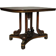 Antique English Regency Carved Rosewood and Bronze Center Table, 19th Century