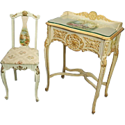 Antique French Provincial Vernis Martin Painted Lady's Desk and Chair, circa 1880