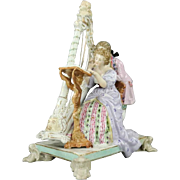 Antique German Ludwigsburg Porcelain Figural Group, Harpist Couple, circa 1820