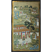 19th Century Monumental Antique Chinese Chiang Watercolor of Village Scene