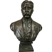 Antique 3/4 Bronze Bust of Teddy Roosevelt by B. Feinberg, New York, circa 1890