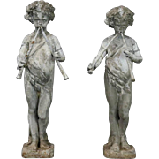 Pair of Antique French Lead Garden Fountain Figures of Classical Pan, circa 1880