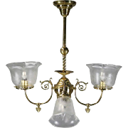Contemporary Brass Four-Light Up and Down Chandelier, 20th Century