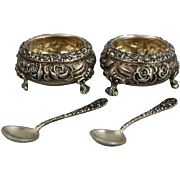Pair of Antique Sterling Silver Steiff Rose Footed Master Salts and Spoons