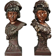 "Pair of Antique Art Nouveau Bronzed Metal Sculptures of Children ""Siblings"""