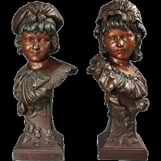 "Pair of Antique Art Nouveau Bronzed Metal Sculptures of Children ""Siblings"""