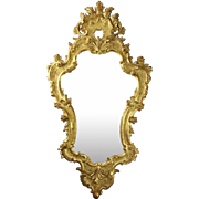 Louis XIV Style Giltwood Acanthus Decorated Silhouette Wall Mirror, circa 1940