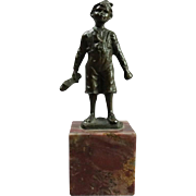 Antique Figural Cast Bronze Sculpture of Young Boy with Shoe on Marble Base