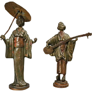 Pair of Austrian Cold Painted Bronze Japanese Figures Shamisen and Geisha, c1900