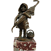 Miniature Antique Bronze Sculpture, Little Girl with Umbrella and Flowers, c1900