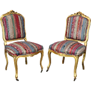 Pair of Antique French Louis XIV Style Carved Giltwood Upholstered Chairs, c1870