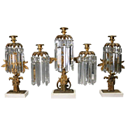 Antique Early Figural Three-Piece Bronze, Crystal and Marble Girandole Set
