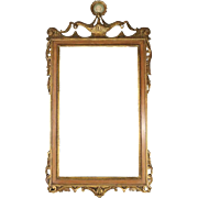 Neoclassical Carved Pierced Frame Gilt Pediment Mirror with Plaque, circa 1880