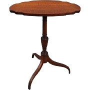 Antique Federal Tiger Maple Oval Tilt-Top Lamp Stand, circa 1850