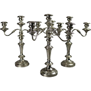 Antique Set of Silver Plate on Copper Three-Light Candelabra, circa 1880