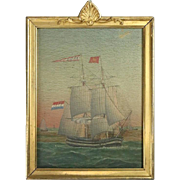 British Oil on Board Maritime Painting of Tall Mast Sailing Ship, circa 1870