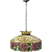 Arts & Crafts Wilkinson School Leaded Stained Glass Chandelier, circa 1920
