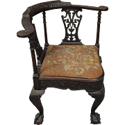 Chippendale Style Cared Mahogany and Floral Needlepoint Corner Chair, circa 1880