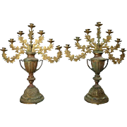 Pair of Oversized Antique French Empire Gilt Bronze Urn and Foliate Candelabra