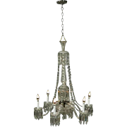 Oversized Antique French Style Crystal and Frosted Glass Chandelier, circa 1920