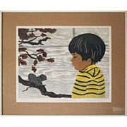"Limited Edition Rosalind Smith Woodblock Print ""The Autumn of Poetry"", Signed"