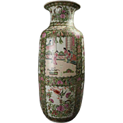 Oversized Vintage Chinese Rose Medallion Porcelain Vase, Signed, circa 1950