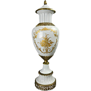 French Neoclassical Gilt Porcelain & Bronze Urn Signed Sevres, circa 1940