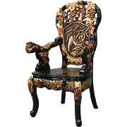 Chinese Heavily Carved Polychrome Throne Chair, Phoenix & Dragon, circa 1960