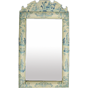 "Vintage Hand-Painted Chinoiserie Beveled Wall Mirror, ""Homecoming"", circa 1950"