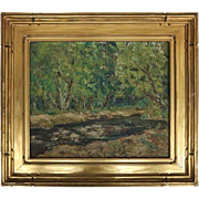 "Antique New Hope School Impressionist Oil on Canvas ""Trout Stream"", by E. Fink"